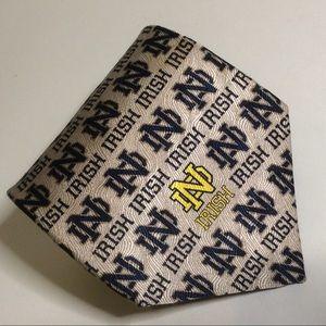 Notre Dame Antique Silver Navy Blue 100% Silk Tie